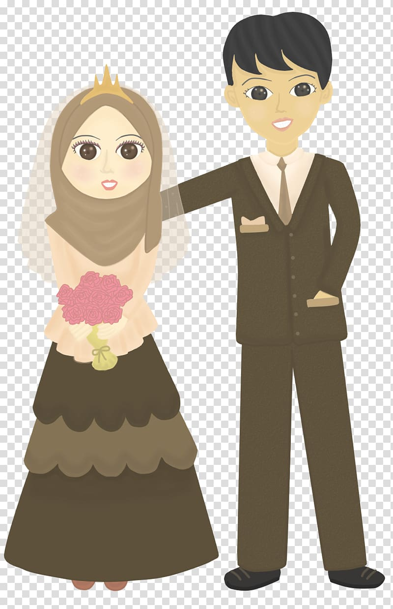 Man and woman illustration, Doodle Wedding Drawing Muslim.