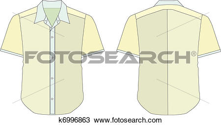 Clipart of Collar Dress Shirt In Yellow Color Tones k6996863.