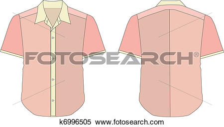 Clipart of Collar Dress Shirt In Pink Red Color Tones k6996505.