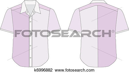 Clipart of Collar Dress Shirt In Purple Color Tones k6996882.
