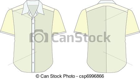 Clip Art Vector of Collar Dress Shirt In Blue Yellow Color Tones.