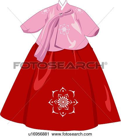 Clipart of clothing, royal, court dress, korean dress, suit, korea.