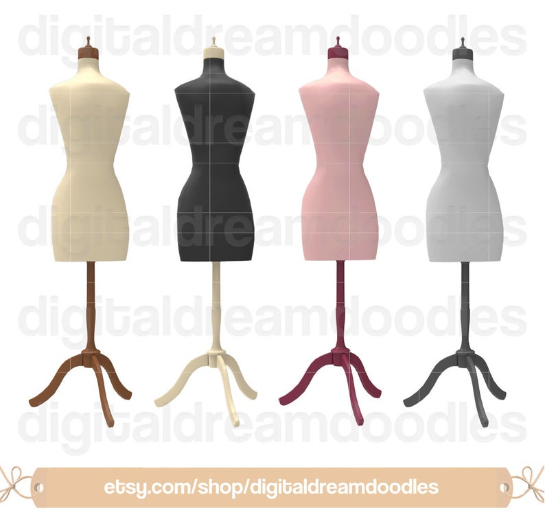 Dress Form Clipart, Dress Form Clip Art, Dressform Sew Art, Sewing Graphic,  Fashion Mannequin Image, Seamstress Scrapbook, Digital Download.