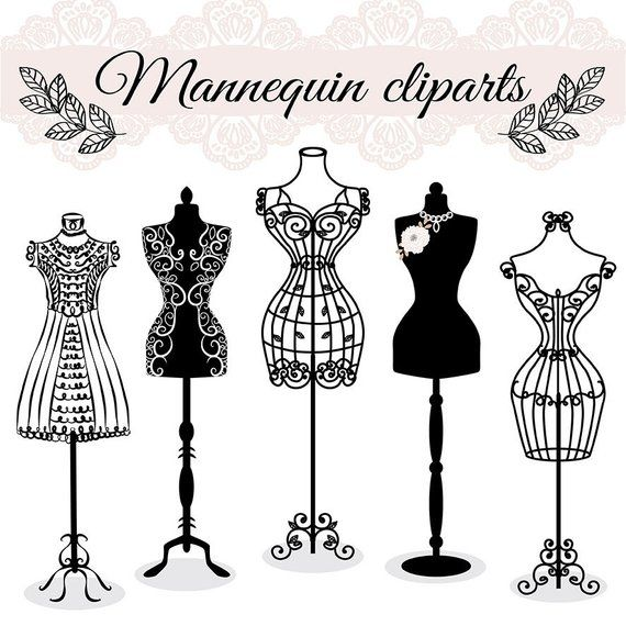Premium VECTOR Hand draw mannequin, fashion, dress forms clipart.