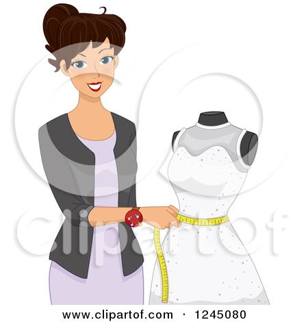 Clipart Fashion Designer Working On A Dress.