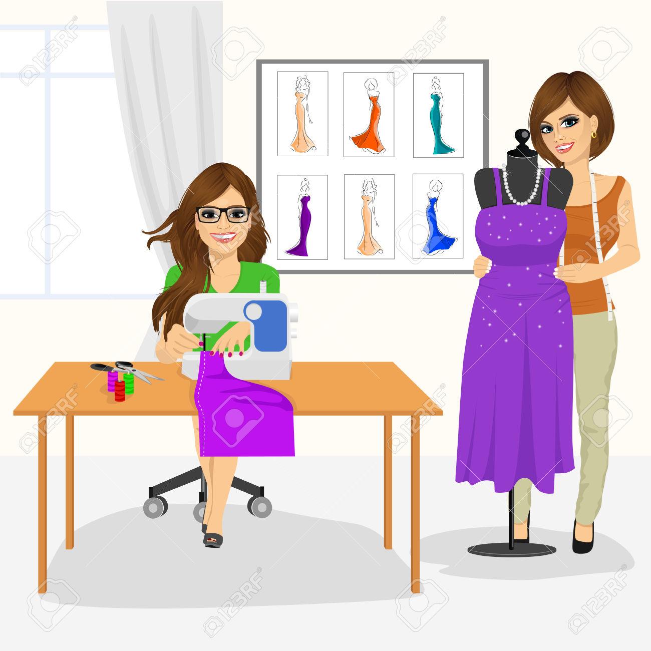 Dressmaker Woman Using Sewing Machine And Fashion Designer Draping.