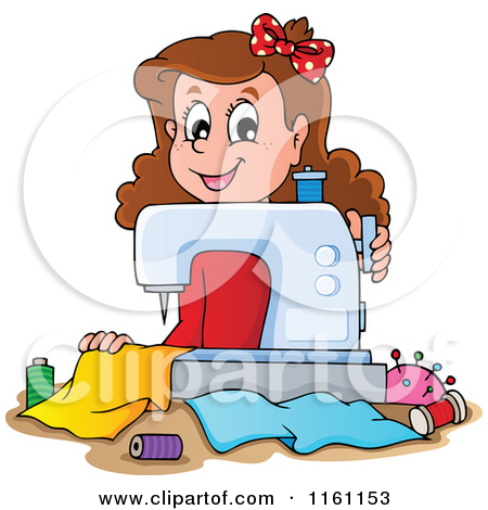 Clipart of a Happy Brunette Caucasian Female Fashion Designer.
