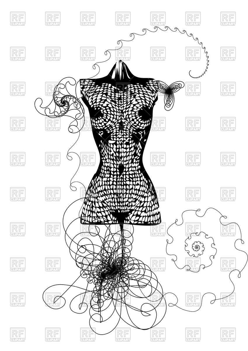 Decorative mannequin of woman's dress Stock Vector Image.