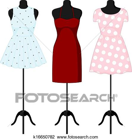 Different dresses on a mannequin. Vector Clipart.