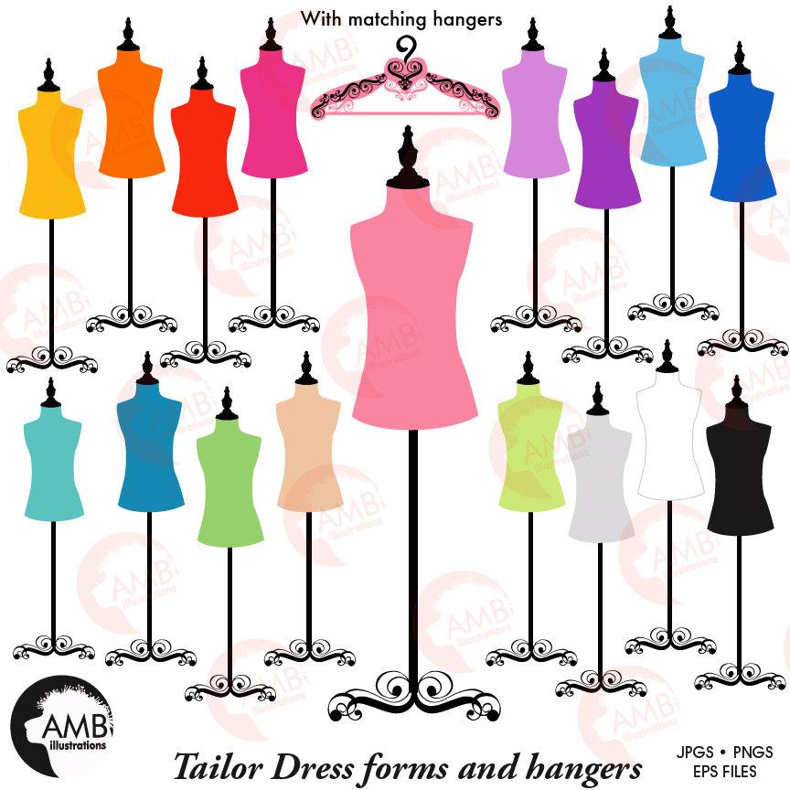 Dress forms, hangers, mannequin clipart, silhouette clipart, AMB.