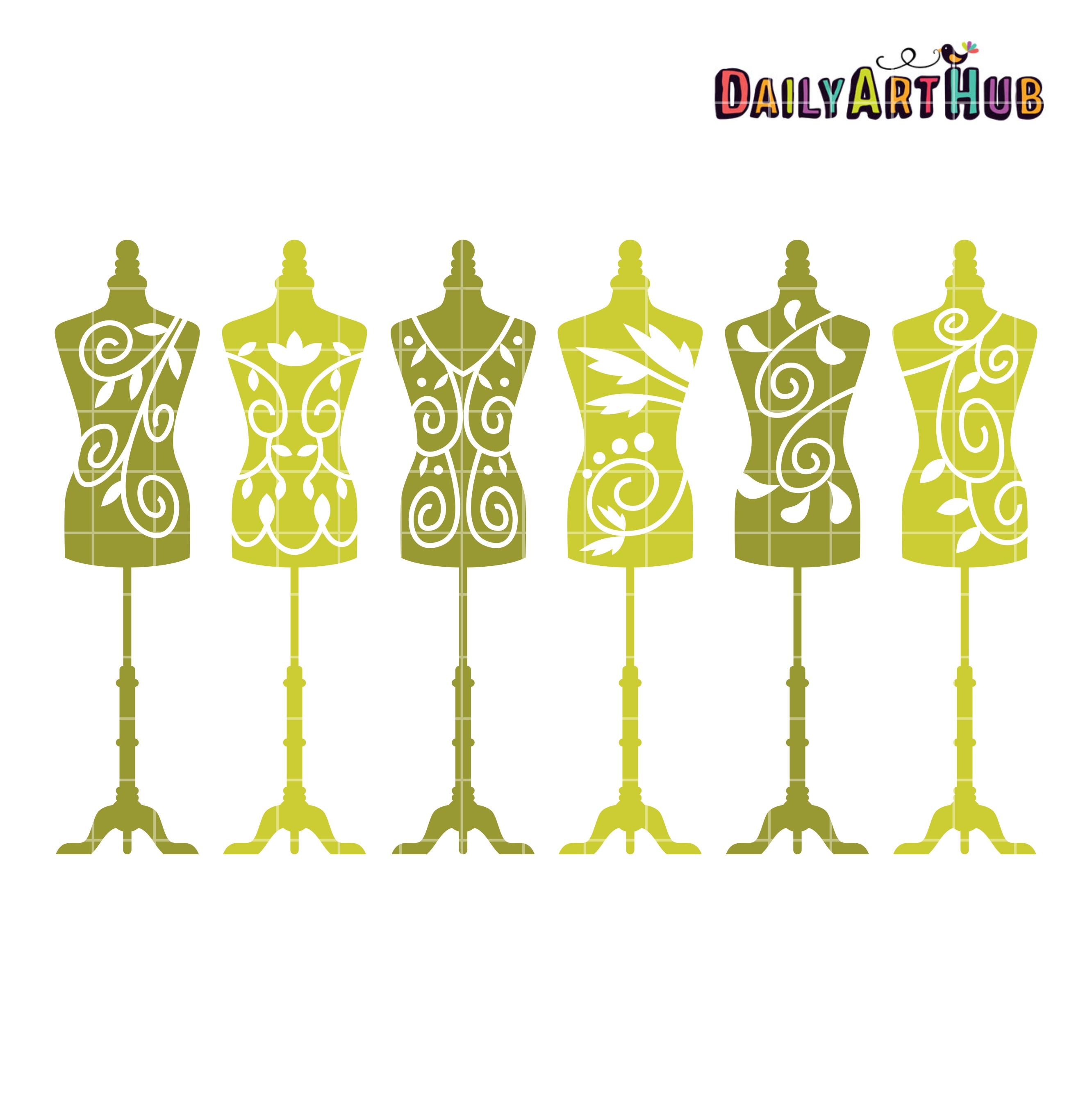 Mannequin Silhouettes Dress Clip Art Set.