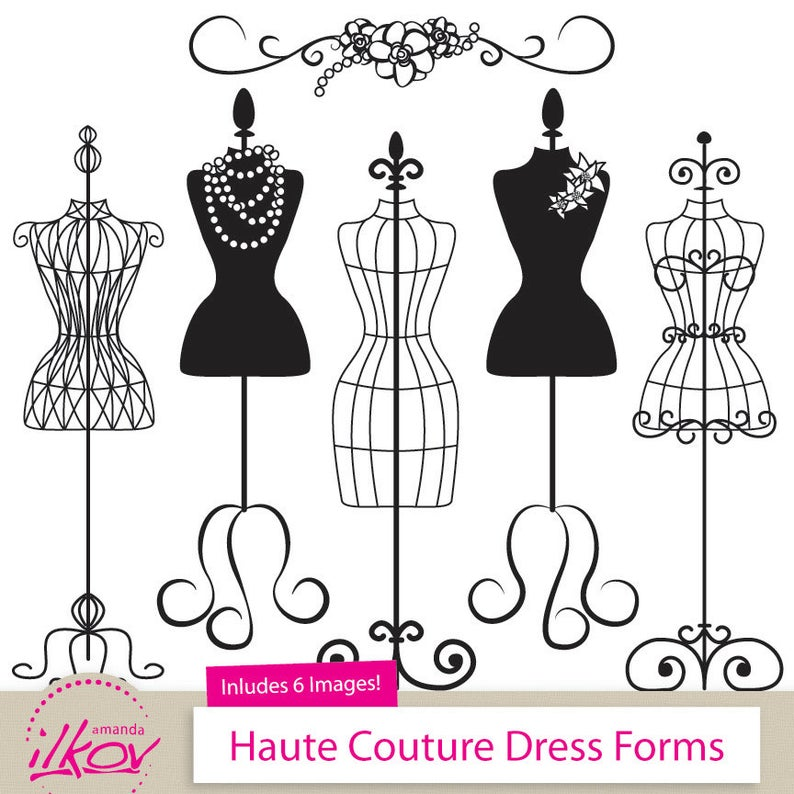 Professional Fashion Clip Art, Dress Forms Clip Art for Digital Scrapbooks,  Crafts, Invitations, Web Use and More.