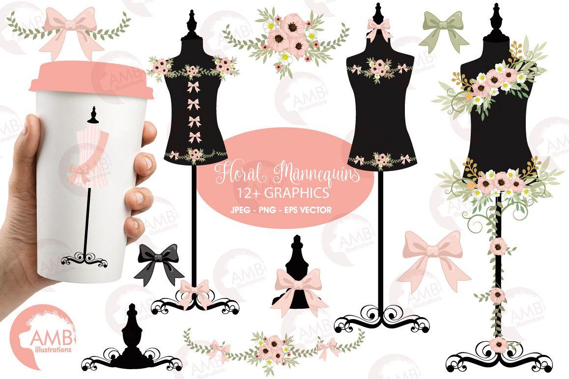 Dress forms mannequin clipart, graphics, illustrations AMB.