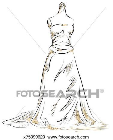 Hand drawn Wedding Dress mannequin. Clipart.