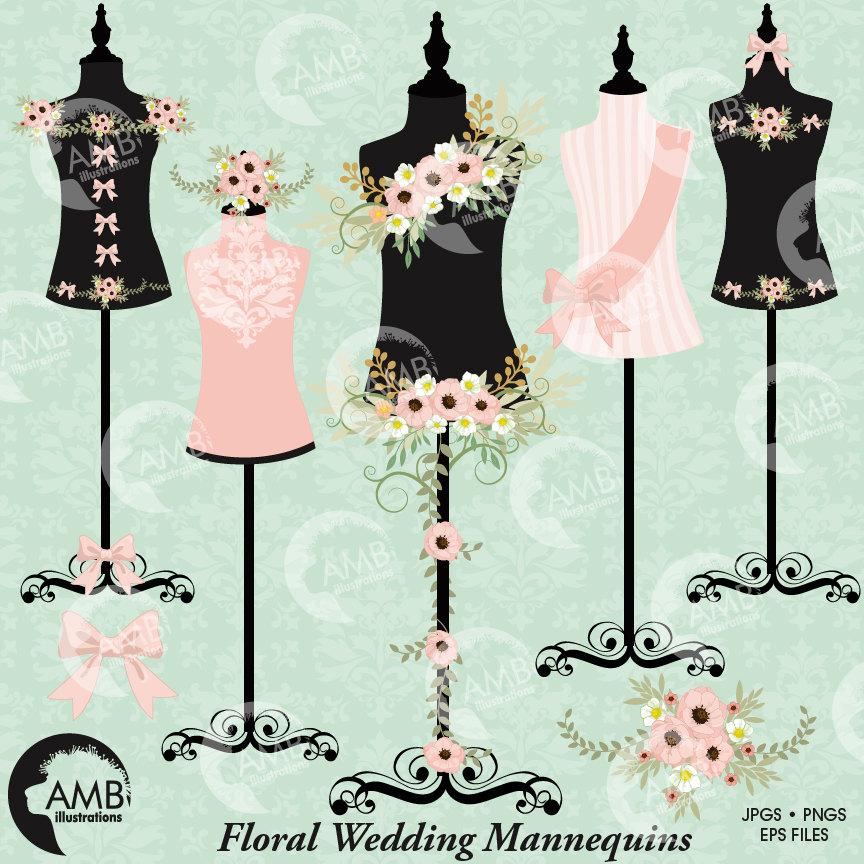 Floral dress, Wedding dress, Floral dress forms, floral mannequin clipart,  lingerie clipart, commercial use, AMB.