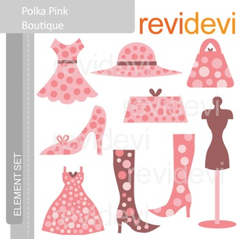 Clipart Polka Pink Boutique E022 (fashion, mannequin, dress, boots, purses).