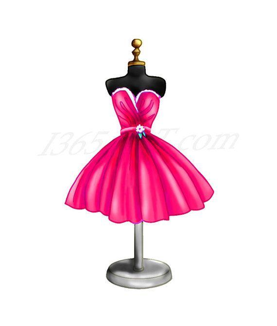 Magenta Cocktail Dress Clipart, Dress form Clipart.