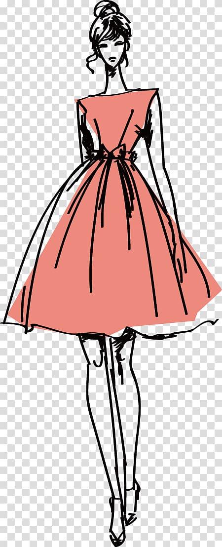 Woman in peach dress illustration, Fashion Model Clothing.