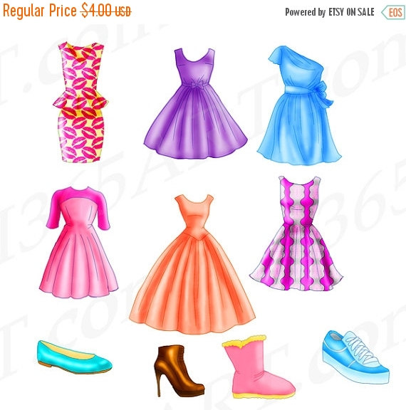 50% OFF Sale Chic Dress Clipart Fashion clipart Flats by I365Art.