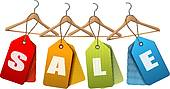Clipart of Clothes hanger with shirts with price tag. Concept of.