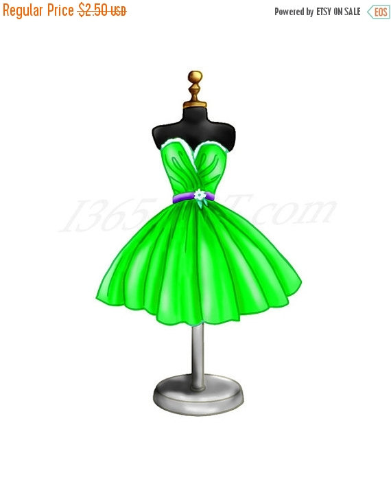 50% OFF Sale Tropical Green Dress Clipart Dress Form.