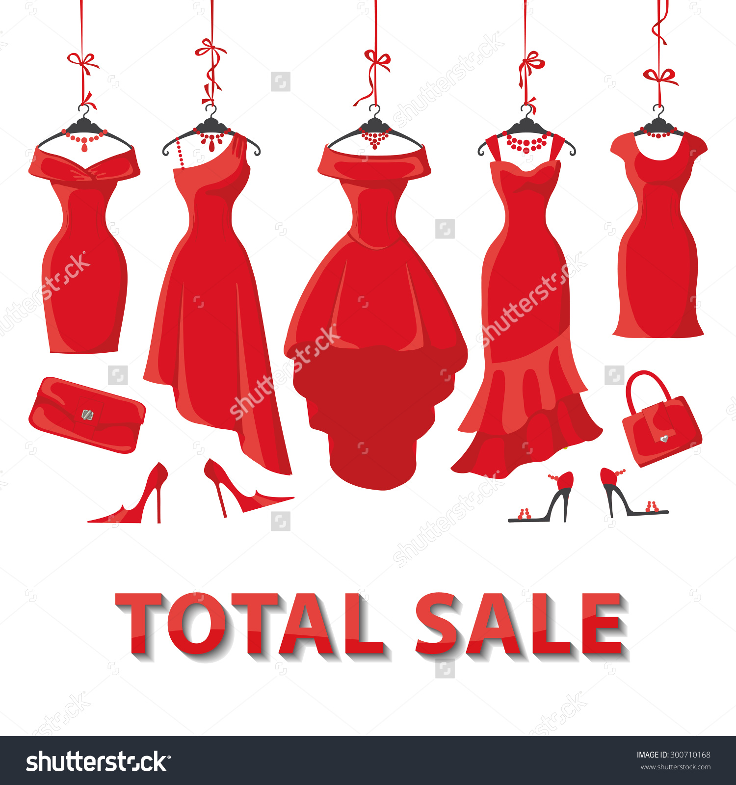 Red Woman Dresses On Hanger Fashion Stock Vector 300710168.