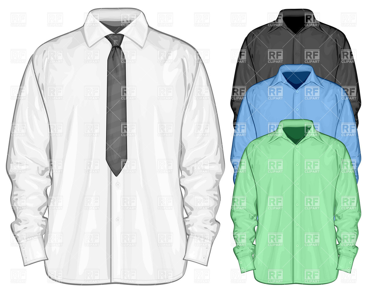 White dress shirt with necktie Stock Vector Image.
