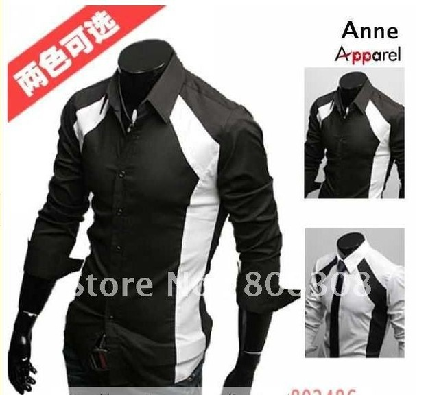 Aliexpress.com : Buy Men's Shirts Slim Sexy Stylish Color Patched.