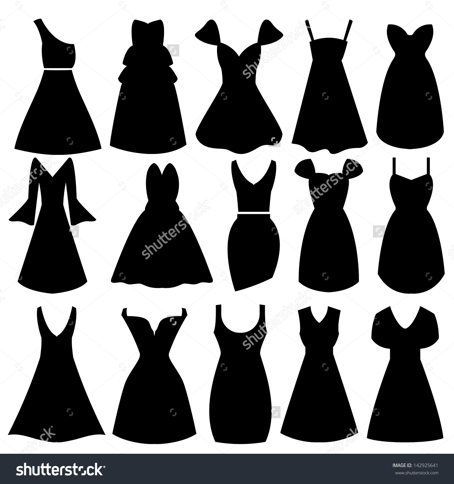 Vector Women Dress Silhouettes Stock Vector 142925641.