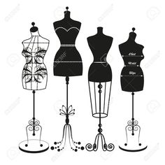 Vintage mannequin digital clip art, tailor's dummy, clipart, dress.