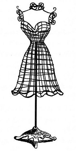 ornate cage, time, dress dummy.