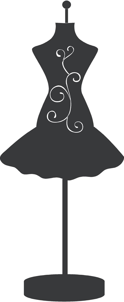 Dress Form Fancy Wall Decal.
