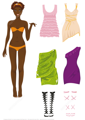 Dress up Paper Doll of African American Woman.
