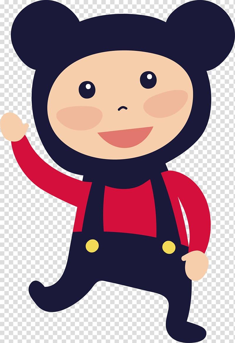 Bear dress up Child , Cute bear dress up transparent background PNG.