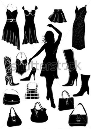 Silhouette of Dress, Shoe and Reticule stock vector.