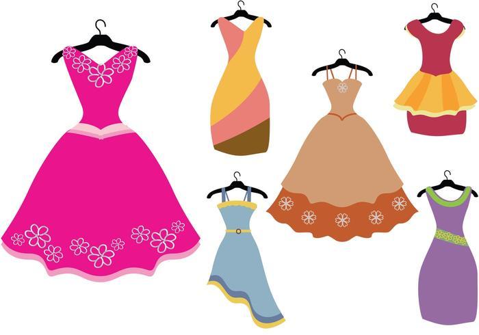 Colorful Fancy Dress Vectors.