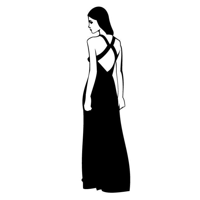 WOMAN IN BLACK DRESS VECTOR CLIP ART.