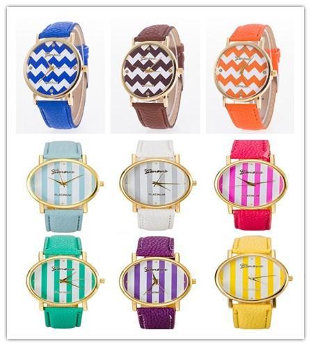 Fashion Geneva Watches Women Ladies Leather Watch Wave Stripe.