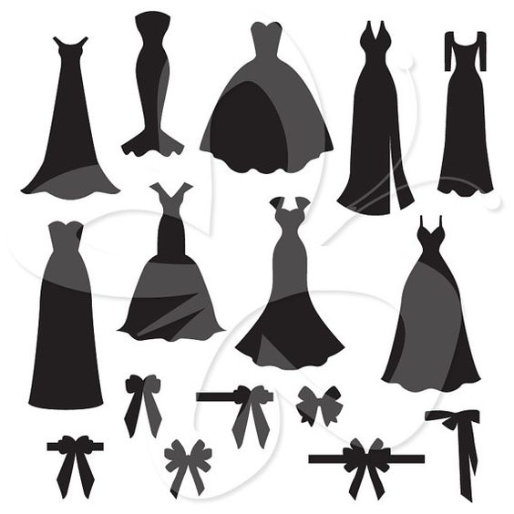 Wedding Dress and Bow Silhouettes Digital Clip Art Clipart Set.