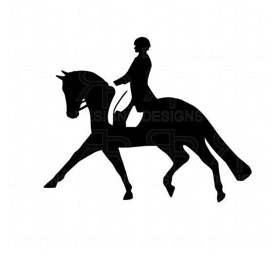 Dressage Horse and Rider Clip Art SVG Files, Cricut, Silhouette.