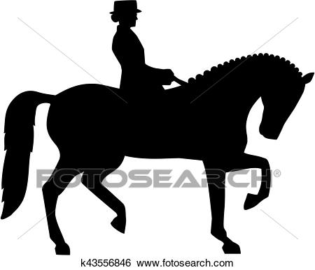 Silhouette of dressage horse and rider Clip Art.