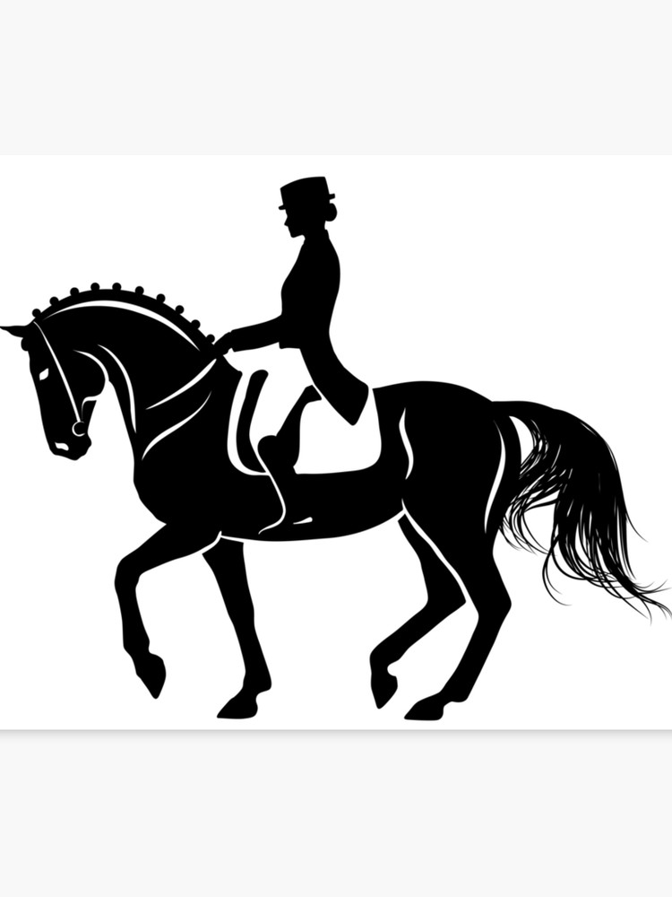 Detailed silhouette of a dressage horse performing piaffe.