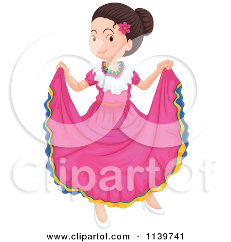 Girls mexican dress clipart.