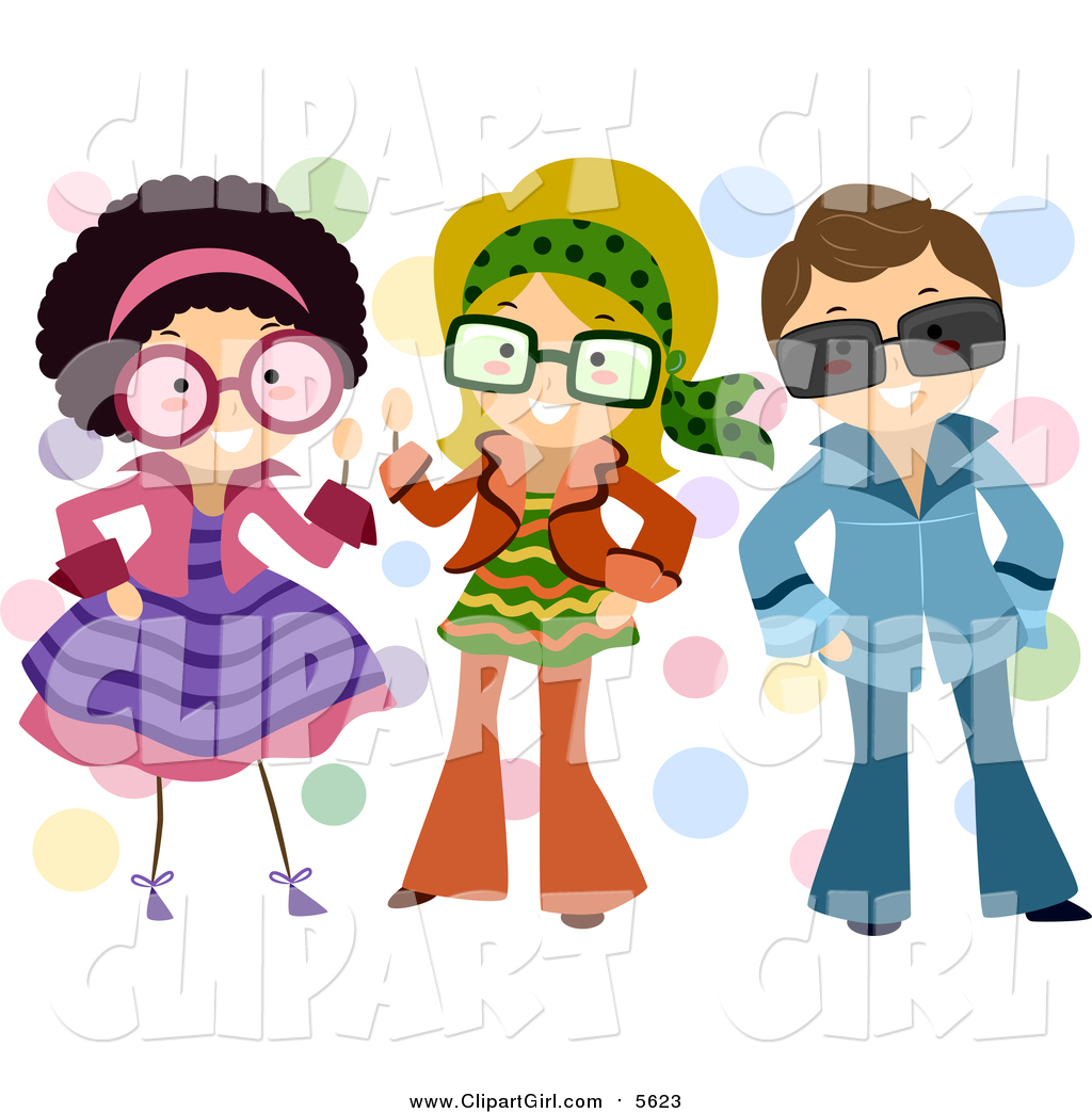Clip Art of a Group of Kids Dressed up in Retro Outfits by BNP.