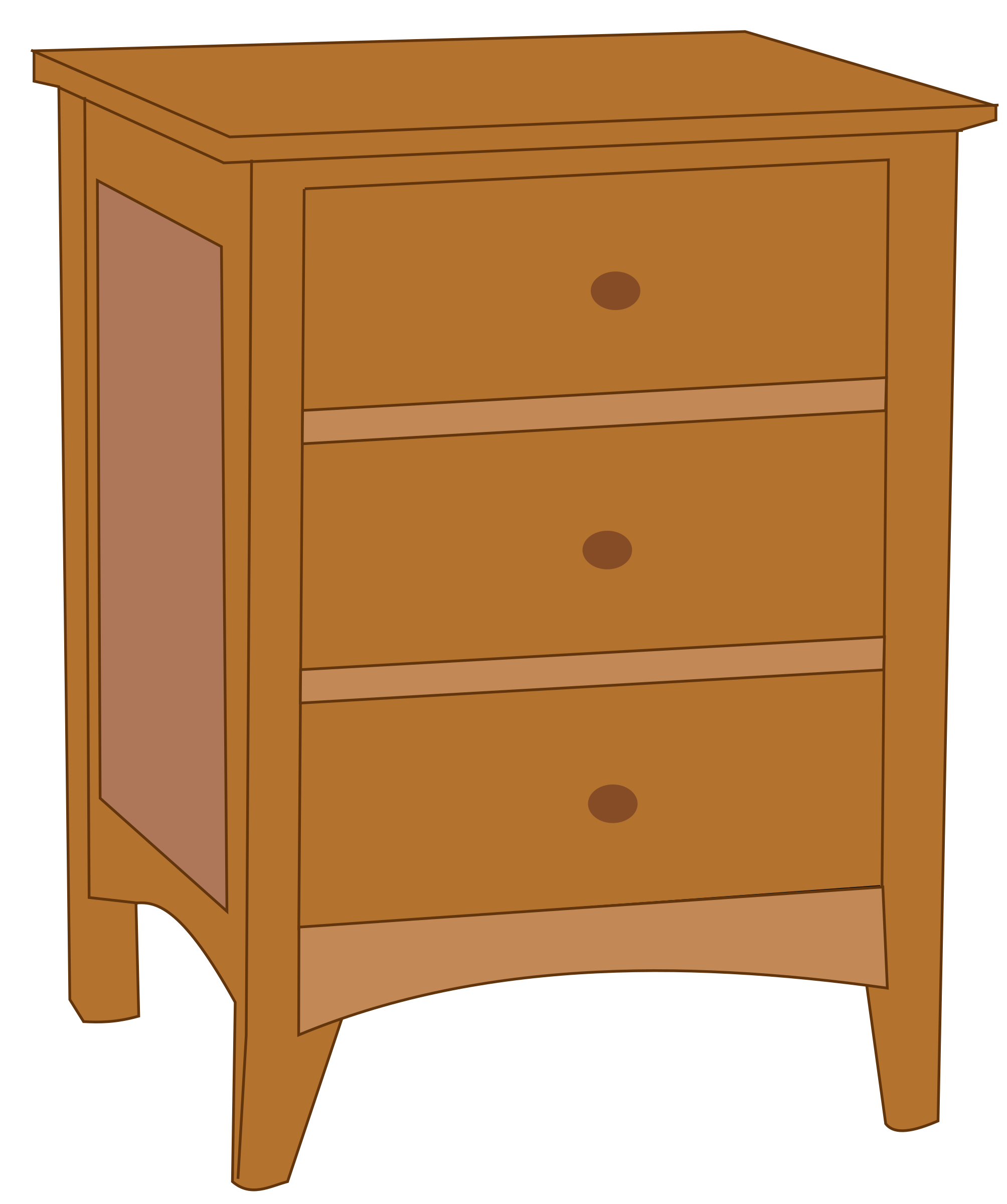 Dresser with drawer open clipart.