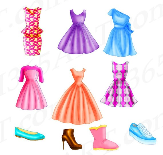 50% OFF Chic Dress Clipart, Fashion clipart, Flats, shoe, boot, Clothing  Pack, Design, Hand Drawn Illustration pink, blue, JPEG PNG Download.