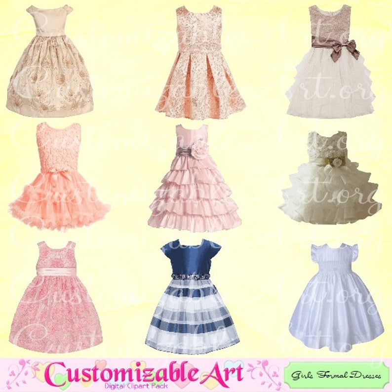 Girls Formal Dresses Clipart Girls Dress Clip Art Images Fashion Wear  Clothes Toddlers Dress Cute Outfit Digital Printable PNG Graphics.