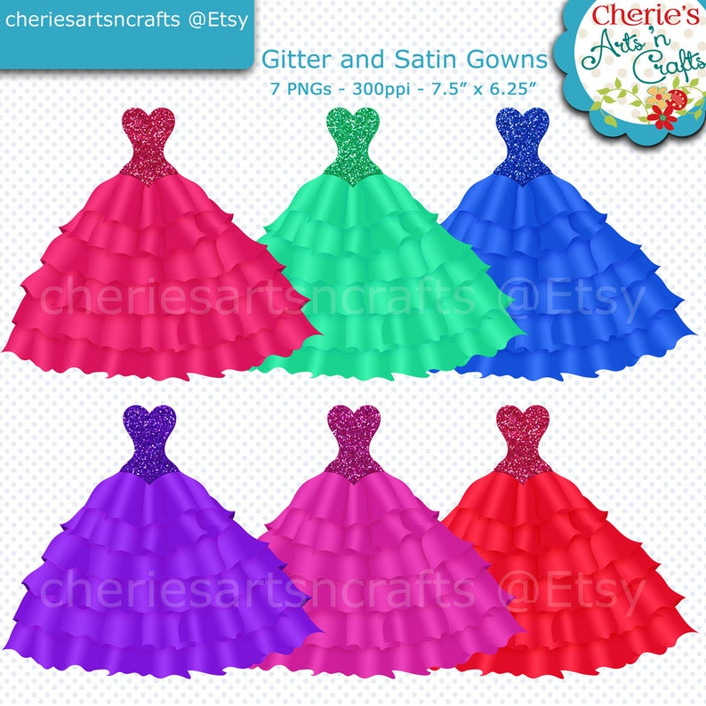 Glitter and Satin Gowns Clip Art, Quinceanera Gowns Clip Art, Gowns Clip  Art, Dresses Clip Art, Ball Gowns Clip Art, Glitter Satin Clip Arts.