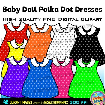 42 Baby Doll Polka Dot Dresses Clip Art for Personal and Commercial Use.