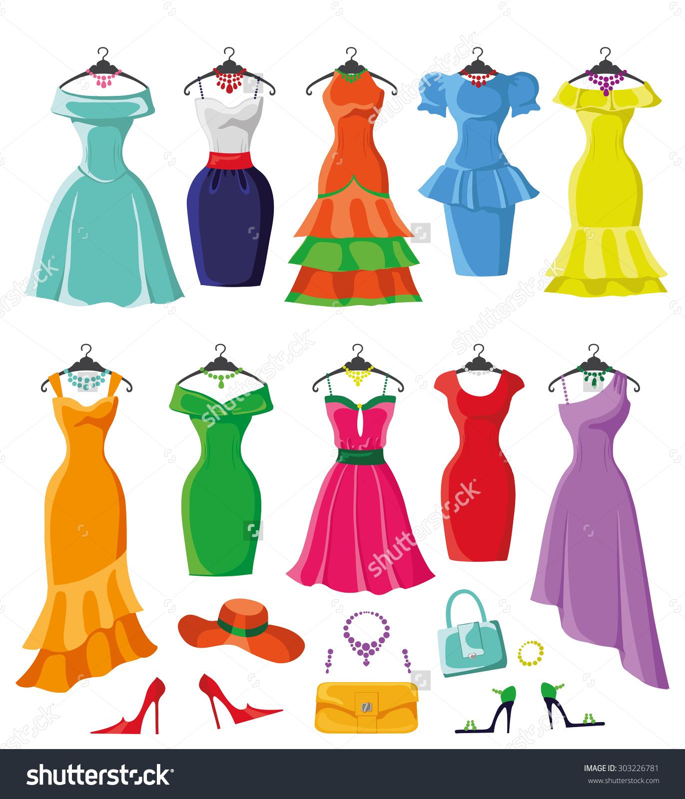 Elegant dresses clipart.